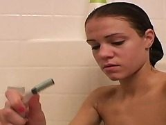 Cute Ally taking bathroom and shaving