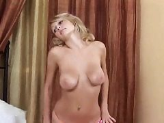 Sweet girl is wide open cock-squeezing muff in closeup and having ejaculation