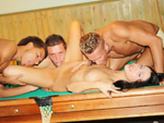 Dark-Haired boned firm on the pool table