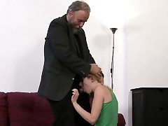 Silly chick gets fucked by his father