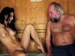 Latina jizzed by old man