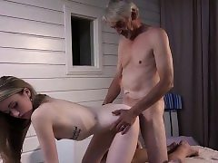 Bony Teenie Rubdown has sex with grandpa and inhales manmeat