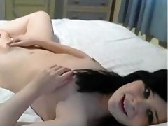 masturbating young brunette