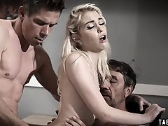Teen dual penetrated by her stepdad and her uncle
