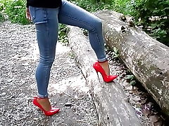 Extraordinary heels and jeans, my sexy legs,walk in the forest