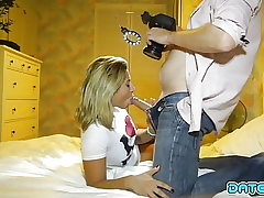 Date Slam - Blonde ultra-cutie takes load down her facehole
