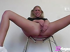 Young Blonde Allie Pierce Dildo Smashes Ass In Sneakers!