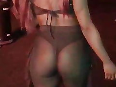 Enormous Ass Black Portuguese Chick See Thru Showing Thong
