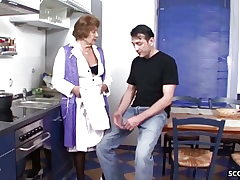 German Antique Granny Seduce to Fuck by Youthfull Dude in Kitchen