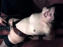Submissive puny sweetie gagged and toyed