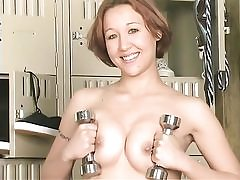 Sexy dark haired doing fitness and fake penis fucking