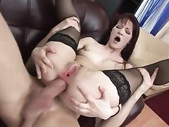 Young rectal stunner in stockings gets rectal fuck
