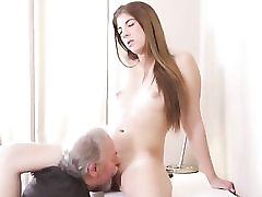Mature mischievous dude is sucking on her puffies and tongues her pussy