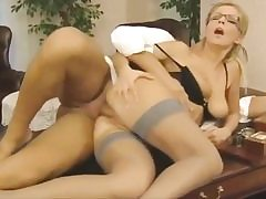 Wild secretary gets her vulva fuck-hole pounded on the office table