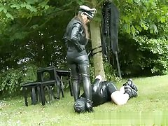 Porno predominant flick with a dude wearing leather smooching feet