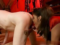 Crazy domme is abusing this elder fellow toying with his schlong and balls
