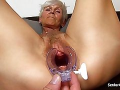 Nasty milf gets her pussy hole opened up really wide and crazy